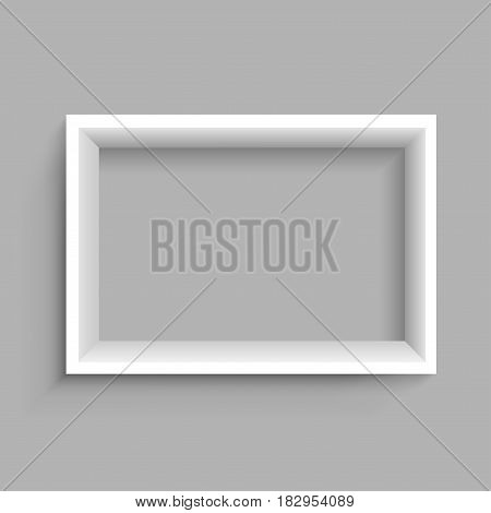 Modern rectangular horizontal plastic wooden or paper white shelf with shadow on gray background. Frame furniture design