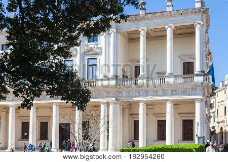 Visitors Near Palazzo Chiericati In Vicenza City