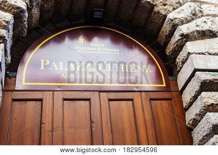 Door Of Palazzo Thiene In Vicenza City