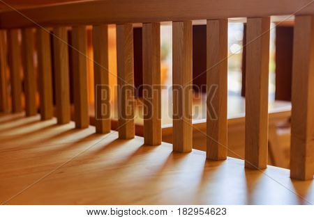 Perspective view of modern style wooden balustrade.