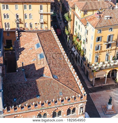 Above View Of House Of The Merchants In Verona