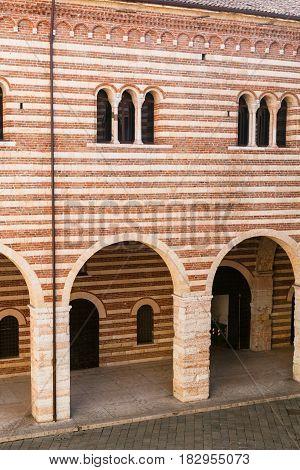 Wall Of Palazzo Della Ragione In Verona City