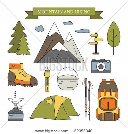 Hiking and outdoor elements set. Camping equipment for mountain trip. Travel concept for infographics, flyers, cards, banners, web and mobile applications. Vector icons with open paths.