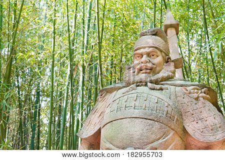 Sichuan, China - Mar 28 2015: Zhang Fei Statue At Zhaohua Ancient Town. A Famous Historic Site In Gu