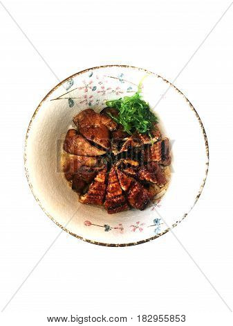 Japanese Unagi Don with Foie Gras (Rice with grilled Eel and Foie Gras). Isolated White background.