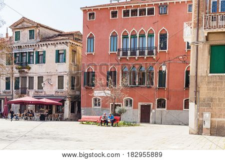 People On Square In Venice City In Spring