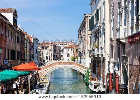 Canal Rio Del Greci In Venice City In Spring