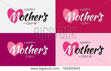 Happy Mothers Day Vector Lettering Set with heart shape and flower. Mother's Day Card background.