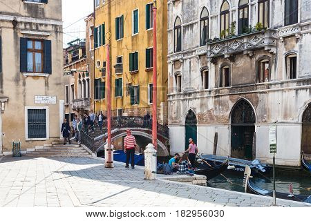 Tourists On Waterfront Fondamenta Preti Castello
