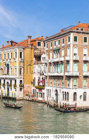 View Of Boats In Grand Canal In Venice City