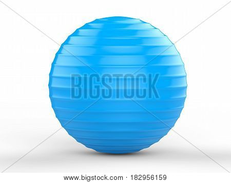 3d rendering shiny blue fitness ball on white background