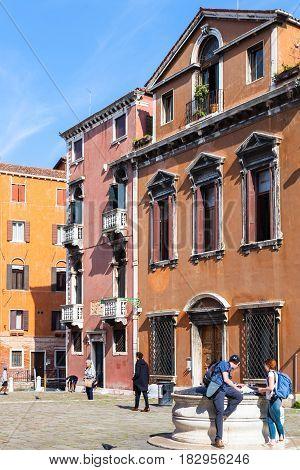 Tourists On Campo Dei Frari In Venice