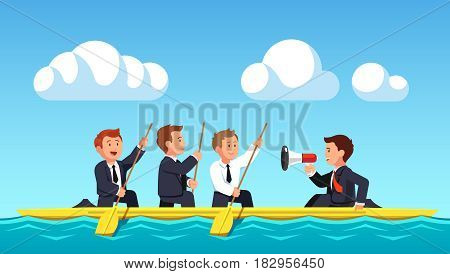 Business man rowing with oars under the guidance of their leader or boss shouting commands into the speaker. Swimming together towards the aim. Teamwork concept. Flat style modern vector illustration.