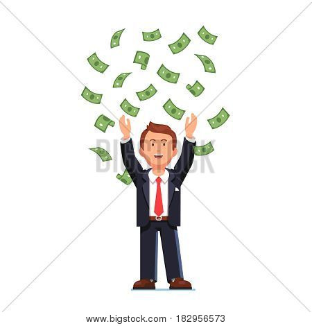 Happy business man in suit standing with raised hands throwing his money up in the air. Green cash rain. Business success concept. Flat style modern vector illustration isolated on white background.