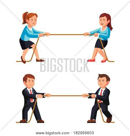Business man and woman competition metaphor. Playing a tug of war pulling rope. Flat style vector illustration isolated on white background.