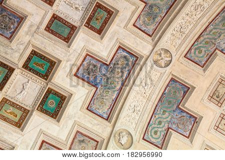 Ornaments On Ceiling In Palazzo Del Te In Mantua