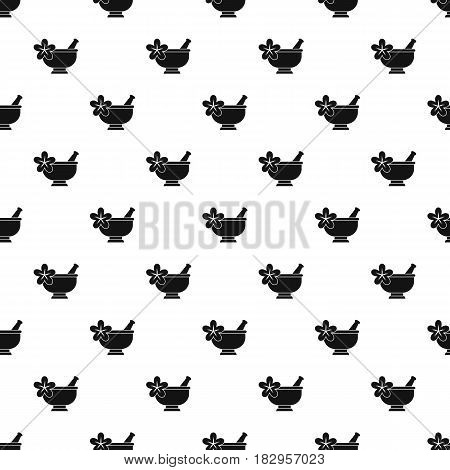 Mortar and pestle pharmacy pattern seamless in simple style vector illustration