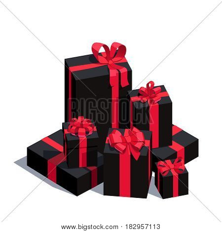 Big pile of wrapped black gift boxes decorated with red ribbon and bows. Lots of holiday presents. Flat style vector illustration isolated on white background.