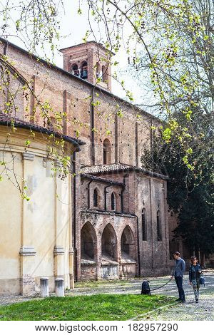 People Near Church Of The Eremitani In Padua