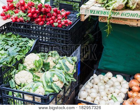 Fresh Seasonal Italian Vegetables On Market