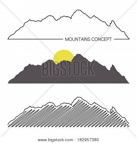 Set Of Mountain Ridges On White Background. Different Variants Of Silhouette. Vector Illustration Fo