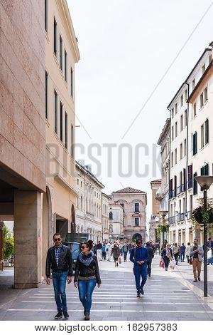 People On Street In Padua City In Spring