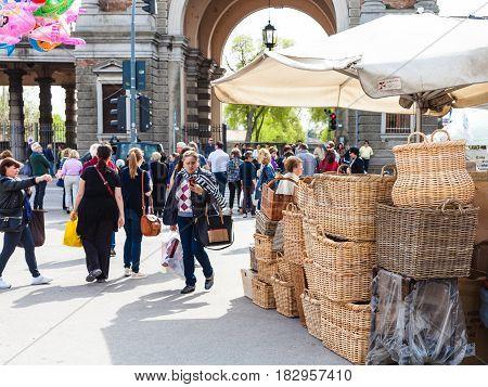 People On Outdoor Market On Prato Della Valle