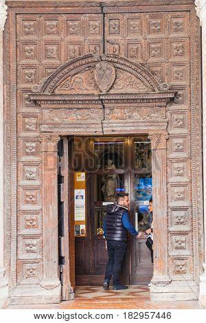 Entrance Of Church La Chiesa Santa Maria Dei Servi