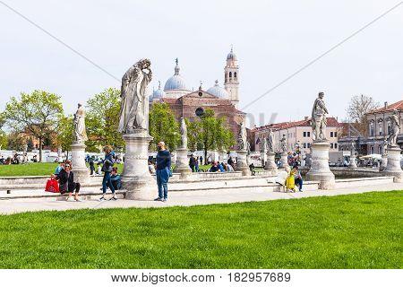 Tourists On Prato Della Valle In Padua