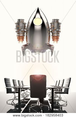 business start up concept with 3d rendering space shuttle launch above conference table