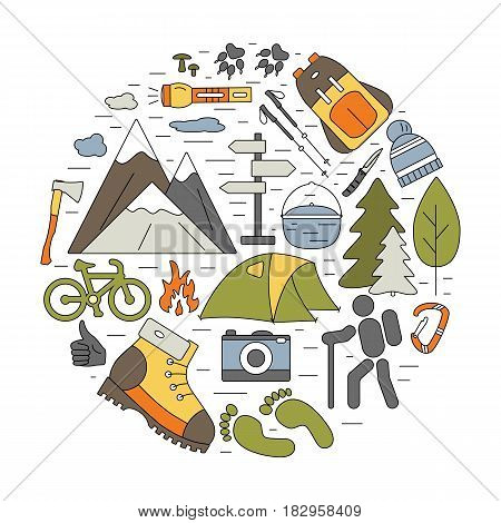 Outdoor icons in circle composition. Hiking and camping thin line elements with open paths. Vector travel concept for flyers, cards, banners, web and mobile applications.