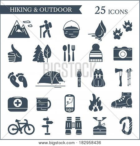 Hiking and camping icons. Vector set of outdoor design elements.