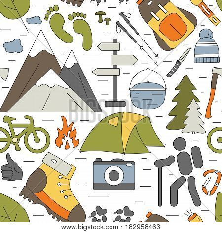 Outdoor seamless background. Hiking and camping icons pattern. Vector travel concept for web site, wallpaper, packing, textile, fabric or covers.