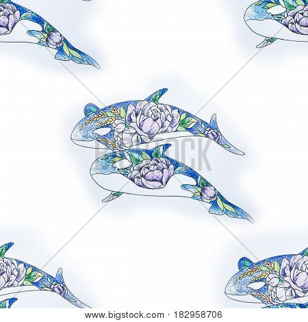 Seamless pattern of killer whales with patterns of flowers on white background.