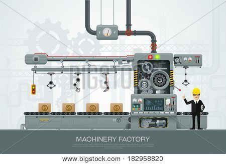 Industrial abstract machine in flat style. Factory construction equipment engineering vector illustration with engineer character