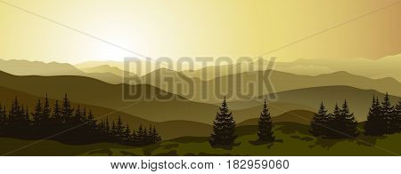 Beautiful sunrise in the evening mountains. Outdoor vector background. Mountain landscape.