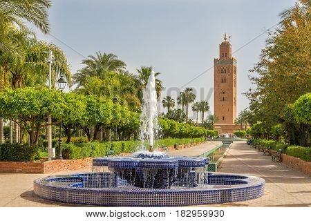 View at the fountain with Koutoubia minaret in Marrakesh - Morocco