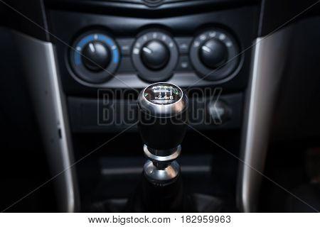Six speed gear shift in car . Gear transmission.