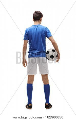 Full length rear view shot of a teenage football player isolated on white background