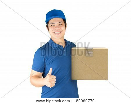 asian delivery man holding carton box with thumb up