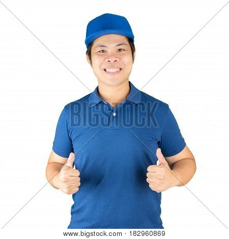 delivery man wearing blue shirt thumbs up