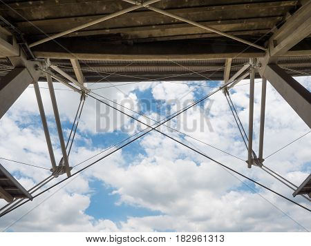 sport stadium with cloudy blue sky background