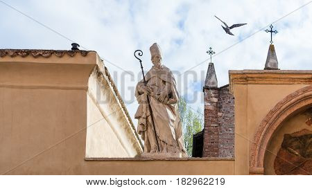 Sculpture Of Saint On Walls Of Church Of San Zeno