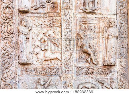Outdoor Ornament On Gate Of Basilica Di San Zeno