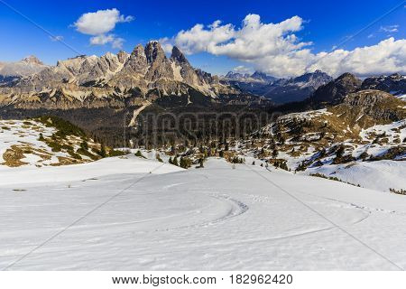 Spring view at Monte Cristallo ,Dolomites, mountain landcape with Alps peak with Misurina and tre Cime, Cortina d'Ampezzo, Italy