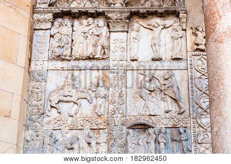 Outdoor Decor On Gate Of Basilica Di San Zeno