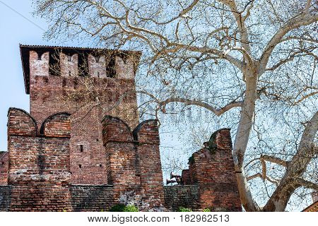 View Of Tower And Wall Of Castelvecchio Castel