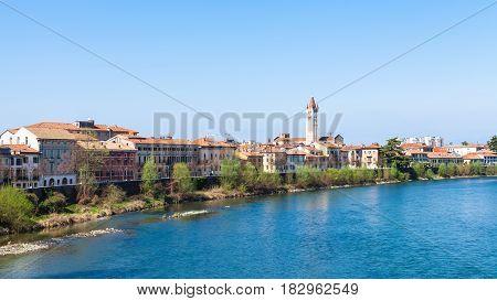 Waterfront Of Adige River In Verona City In Spring