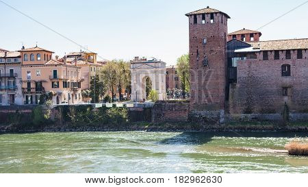 View Of Arco Dei Gavi And Castelvecchio In Verona