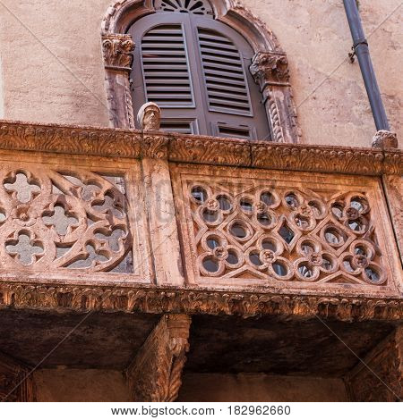 Medieval Decoraion Of Old Urban House In Verona